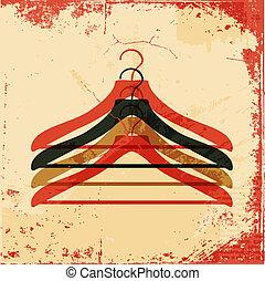 affisch, klädgalge, retro, kläder
