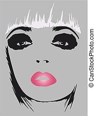 affisch, konst, kvinna, mode, pop
