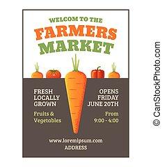 affisch, marknaden, bönder