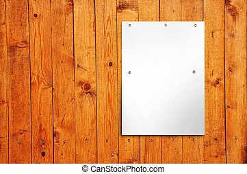 affisch, på, a, trä vägg