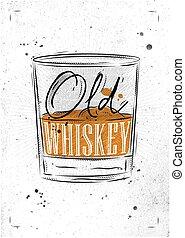 affisch, papper, gammal, whiskey