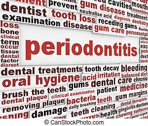 affisch, periodontitis, dental, sjukdom