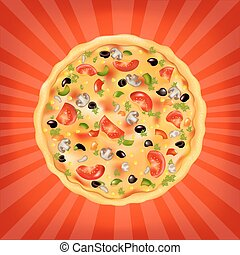 affisch, pizza