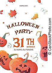 affisch, pumpor, halloween festa