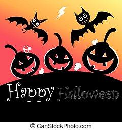 affisch, pumpor, halloween, slagträ