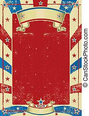affisch, ram, använd, amerikan, röd