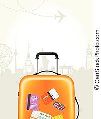 affisch, resa byrån, -, plastisk, resväska, turism, milstolpar, europe