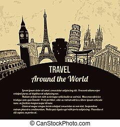 affisch, resa, omkring, värld, retro