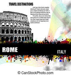 affisch, rom, grunge