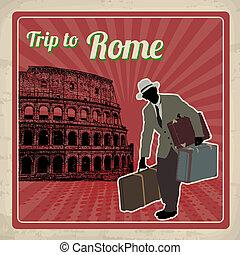 affisch, rom, resa, retro