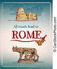 affisch, rom, retro
