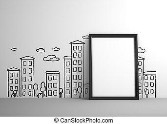 affisch, stående, bredvid, teckning, vägg