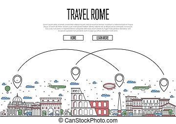 affisch, stil, rom, linjär, resa