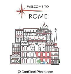 affisch, stil, välkommen, linjär, rom