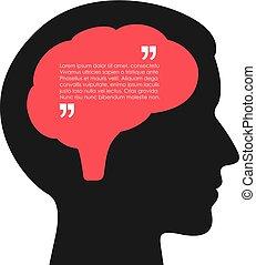 affisch, tanke, hjärna, vektor, mänsklig, bubbla