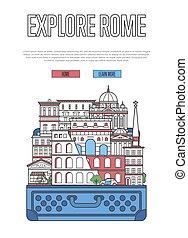 affisch, utforska, rom, öppen resväska