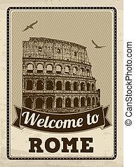 affisch, välkommen, retro, rom