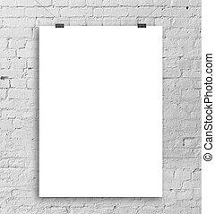 affisch, vit