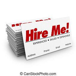 affittare, me, schede affari, applicare, intervista lavoro, riprendere, vendere, te stesso