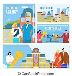 affitto, agenti, casa, agenzia, customers., illustration., ...