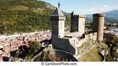 affleurement, foix, moyen-âge, francais, rocheux, château, communauté