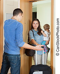 Afflicted woman leaving from home