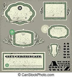 affligé, argent, cadre, vecteur, ensemble