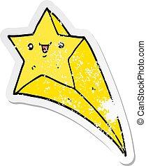 affligé, autocollant, étoile filante, dessin animé