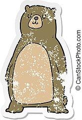 affligé, autocollant, dessin animé, ours