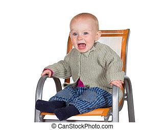 affligé, bébé, larmoyant, chaise haute
