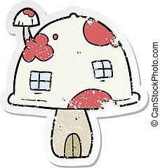 affligé, maison, autocollant, dessin animé, champignon