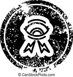 affligé, mystique, oeil, icône