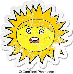 affligé, soleil, autocollant, caractère, retro, dessin animé