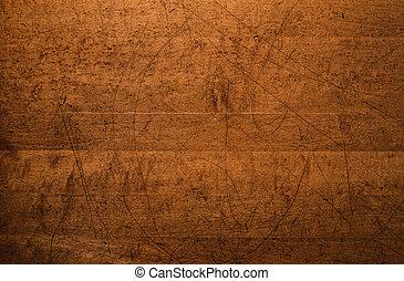 affligé, sommet table, bois, fond