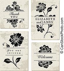 affligé, vecteur, ensemble, fleur, fond
