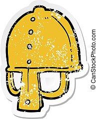 afflitto, adesivo, di, uno, cartone animato, medievale, casco