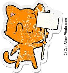 afflitto, adesivo, segno, vuoto, gatto, cartone animato, felice