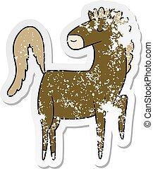 afflitto, cavallo, felice, adesivo, cartone animato