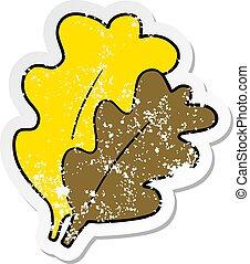 afflitto, foglie, adesivo, cartone animato, cadere