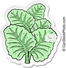 afflitto, foglie, cartone animato, retro, cavolo, adesivo