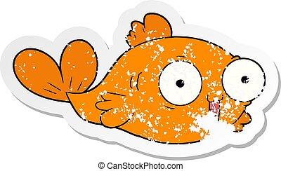 afflitto, pesce rosso, adesivo, cartone animato, felice