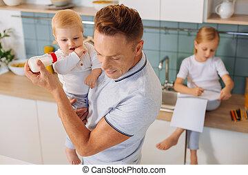 affodringen, hans, barn, graverende, raffineret, mand