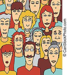 affollato, /, colorito, folla, persone
