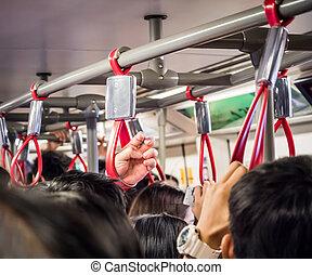 affollato, trasporto, pubblico, persone