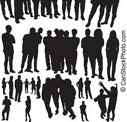 affollato, vettore, silhouette, persone