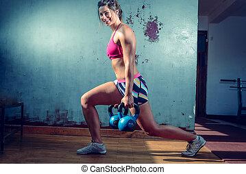 affondo, ragazza, esercizio