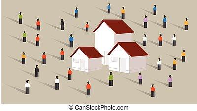 affordable, 地位, 買い物, 群集, 抵当, 人々, ハウジング, 家, 不動産マーケット, のまわり