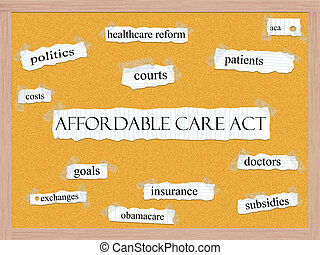 Affordable Care Act Corkboard Word Concept with great terms...