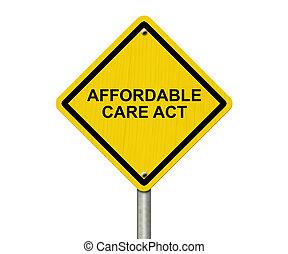Affordable Care Act Warning Sign, Yellow warning road sign...