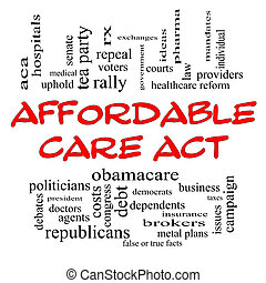 Affordable Care Act Word Cloud Concept in Red Caps with...